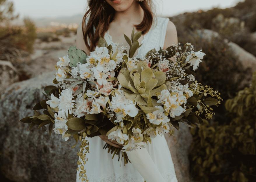 Ramos de novia con suculentas: ¡diseños rompedores para tu gran día!